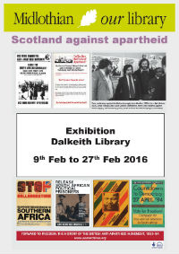 Poster advertising an Anti-Apartheid exhibition at Penicuik Library