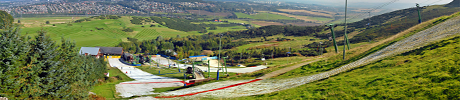 Panoramic view of Hillend's ski slopes.