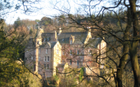View of Hawthornden house at Roslin Glen.