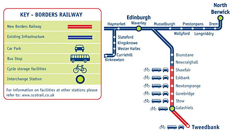 Borders railway - map of route.