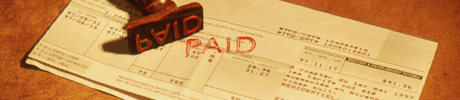 Business invoices with a rubber stamp