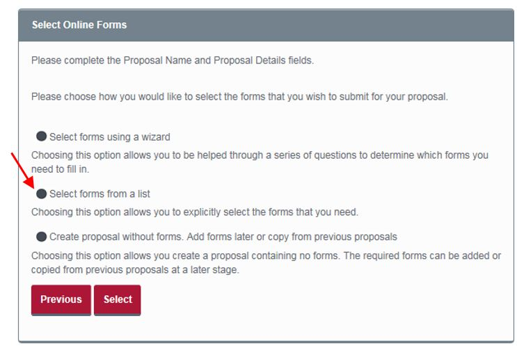 Select forms from a list