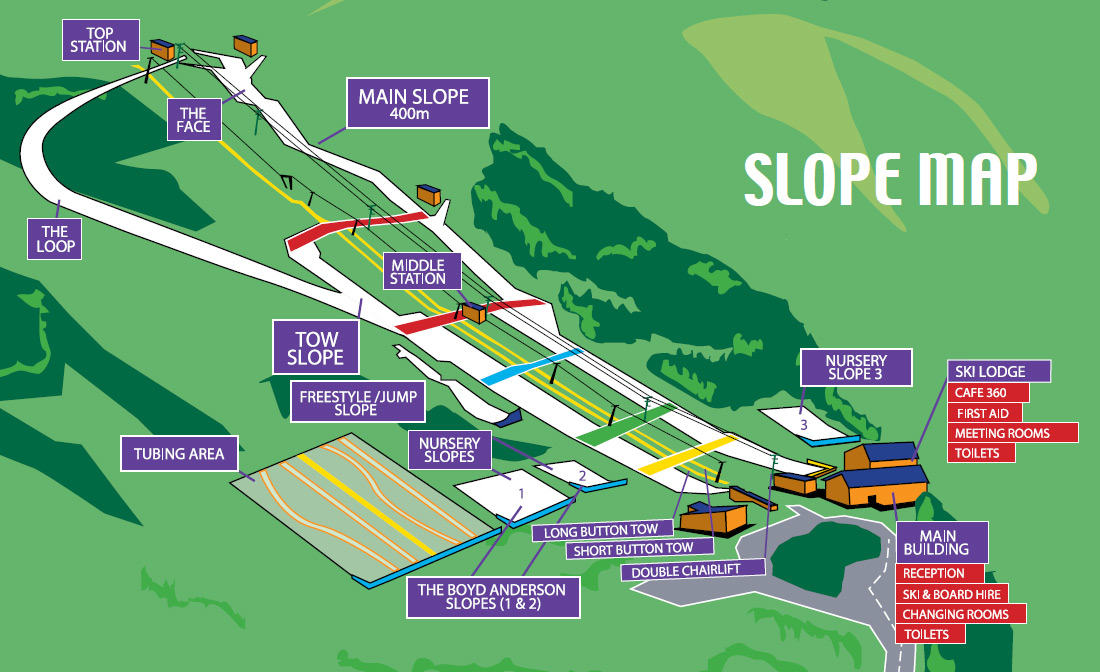 Hillend Snowsports Centre slope map