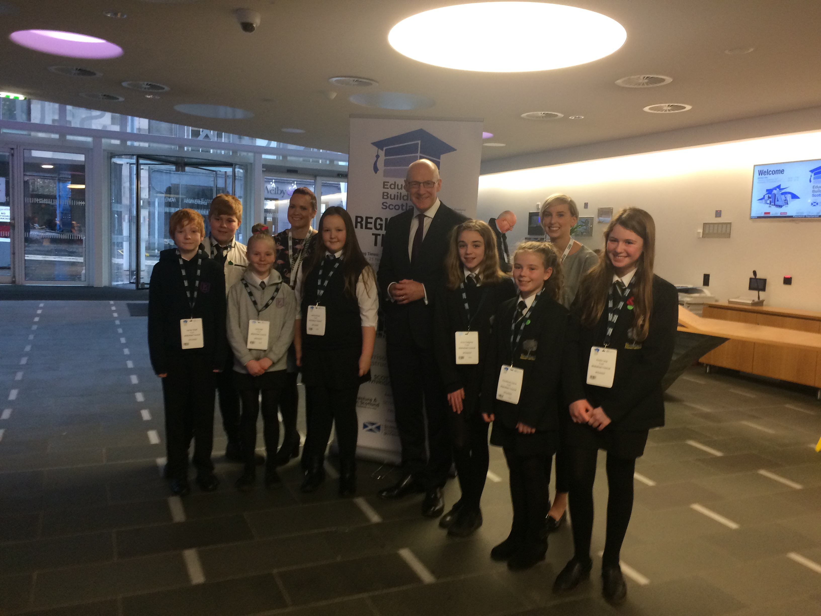 John Swinney with design project pupils