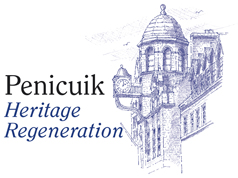 Penicuik Heritage Regneration logo showing purple line drawing of building