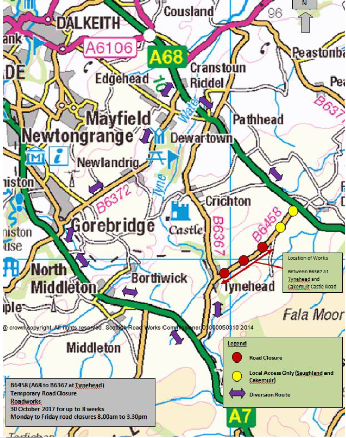 Tynehead road closure October 2017