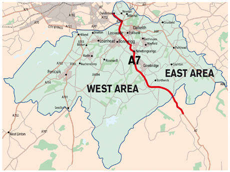 Map of the east/west waste collection areas for Midlothian.